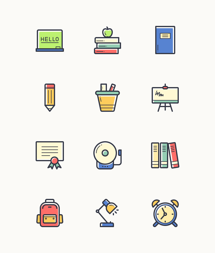 Freebie Back To School Colorful Icons Dreamstale School Lines School Icon Vector Icons Free