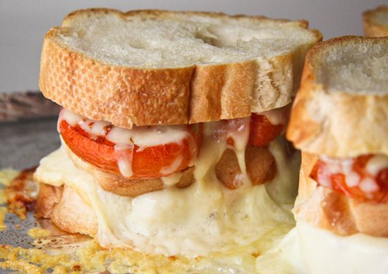 These triple-decker cheese and roasted tomato sandwiches are gooey and delicious!