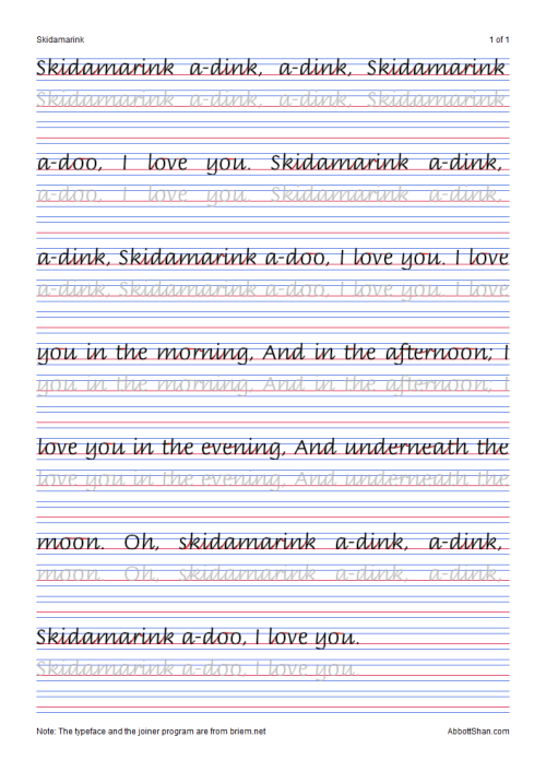 Skidamarinks Italic Handwriting Worksheets multiple... | Italic ...