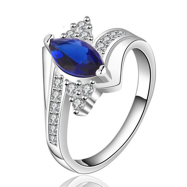 Engagement Wedding Silver Rings for Women Silver Plated Oval Blue Crystal Finger Ring Jewelry Engagement Rings Size 7 8