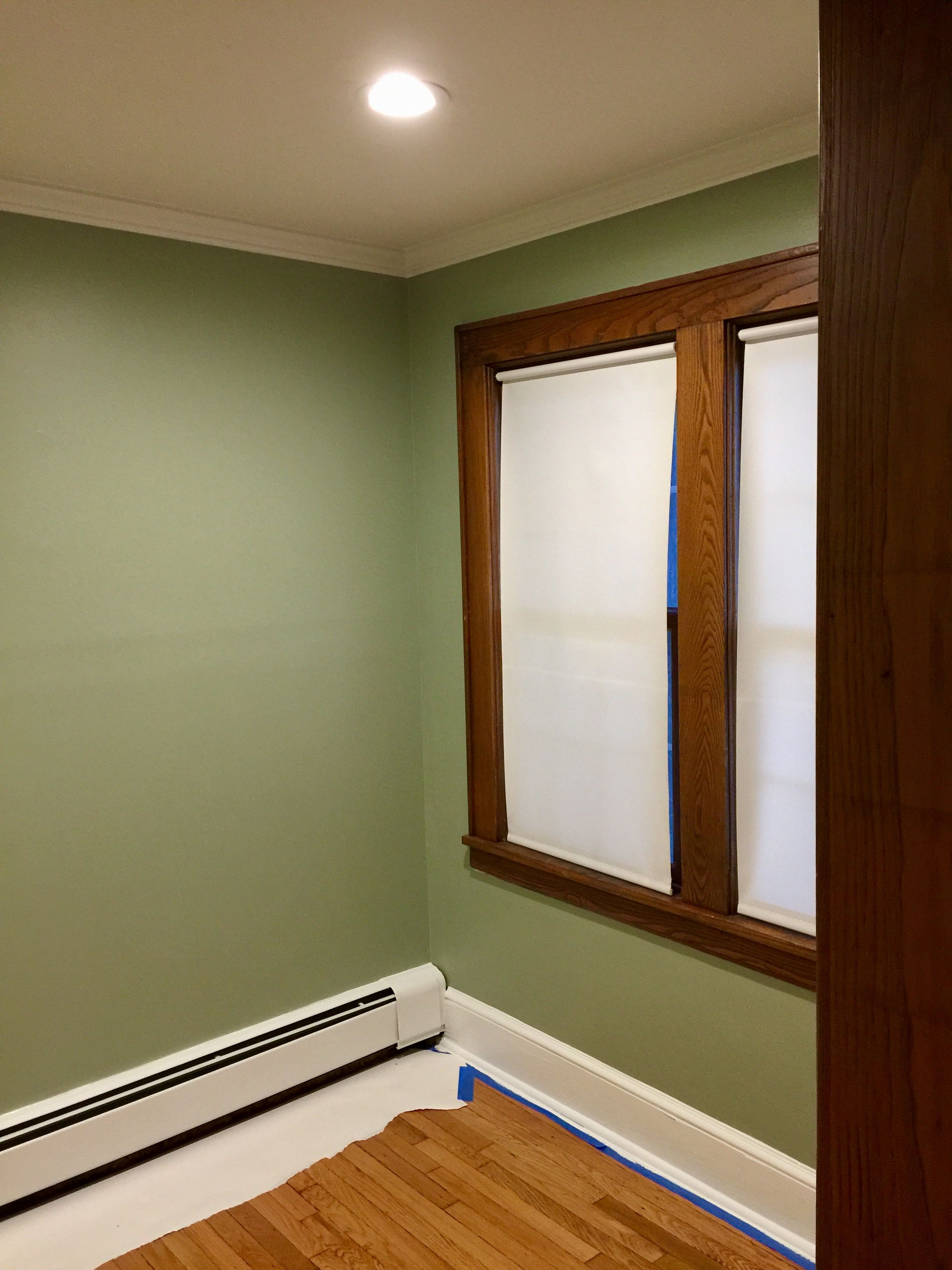 Walls Painted With Sherwin Williams Ovation Clary Sage Stained