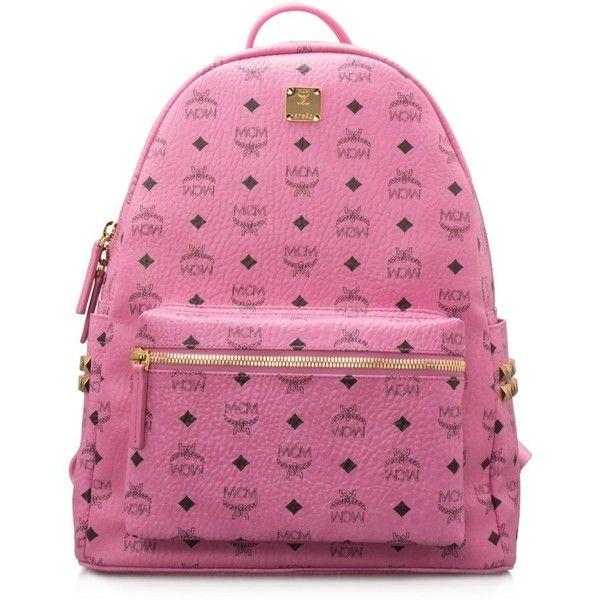 Mcm Side Stud Stark Medium Backpack 840 Liked On Polyvore Featuring Bags Backpacks Pink Handle Bag Knapsack And