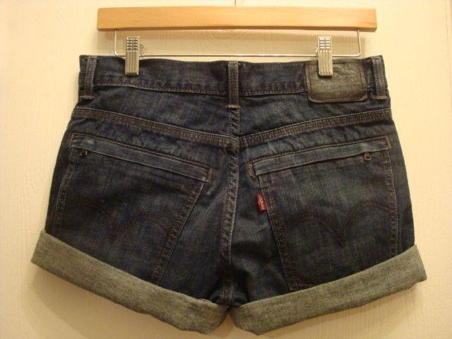 LEVIS utility cut off jean denim high waist shorts dark indigo wash cuff waist 26 inches
