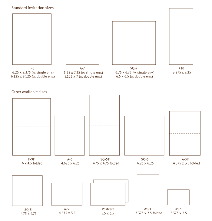 invitation sizes. also on this page: envelope styles/sizes,
