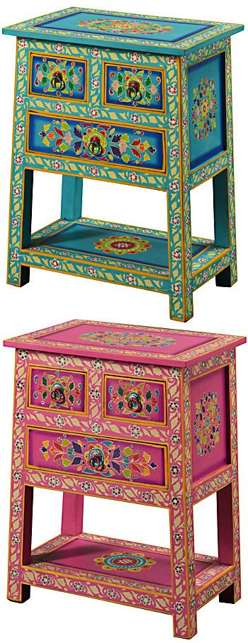 Handpainted indian cabinet 3 drawers furniture redo for Indische wohnaccessoires