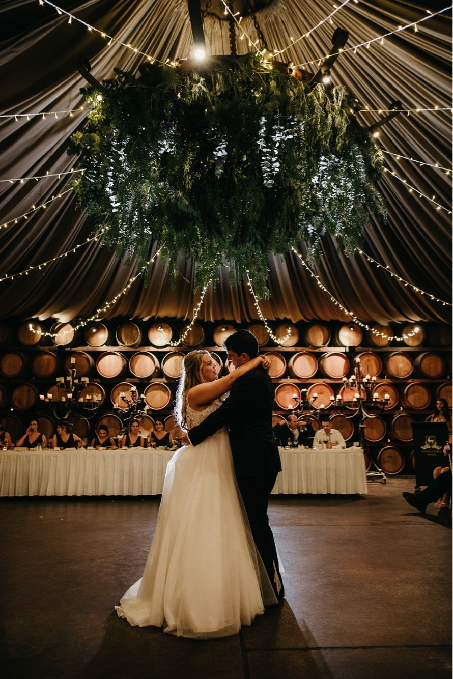 A greenery hanging installation at Sandalford Winery in