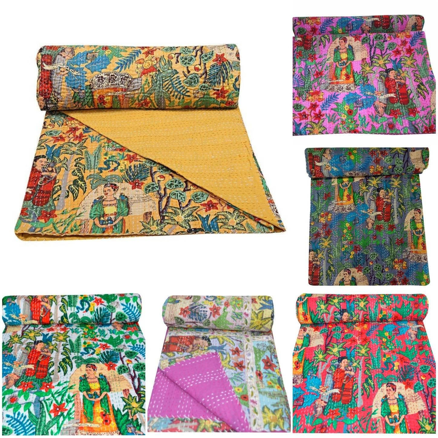 Queen Size Quilt 90 x108 Inches Gudri Kantha Bed Cover The Art Gallery Turquoise Floral Print Hand Block Printed Cotton Kantha Quilt Indian Cotton Blanket Bohemian Bedspread