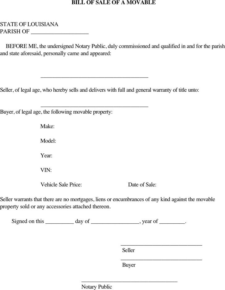 Louisiana Movable Property Bill Of Sale Form Download The Free Printable Basic Bill Of Sale Blank Form Template In Microsoft Word Blank Form Bills Legal Forms