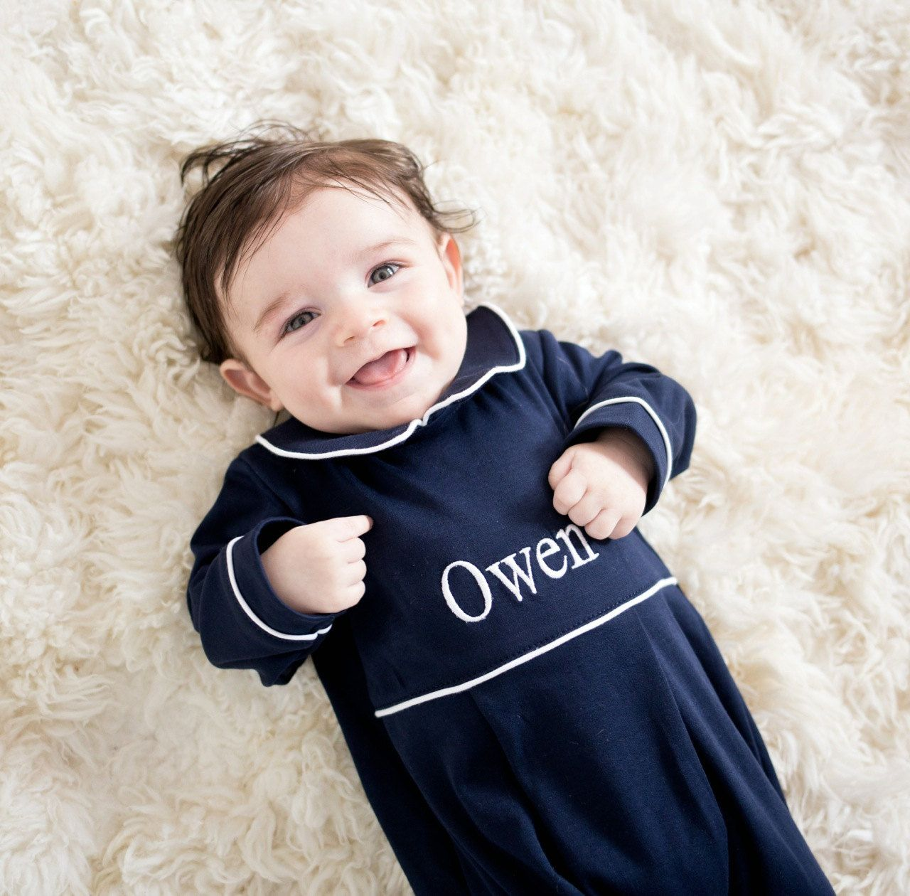 Baby Boy Coming Home Outfit Navy With White Trim Footed Romper Pima