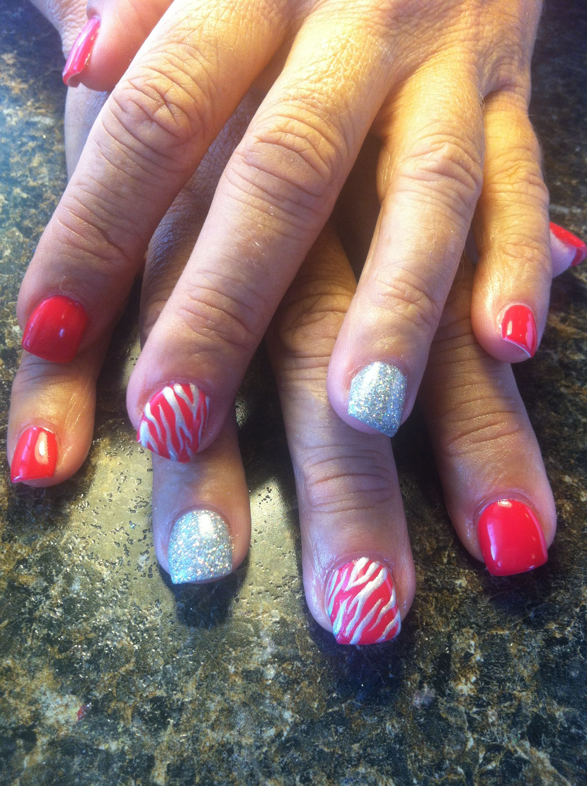 Hot Pink Zebra Rockstar Nails In Shellac Done By Nails By Destiny