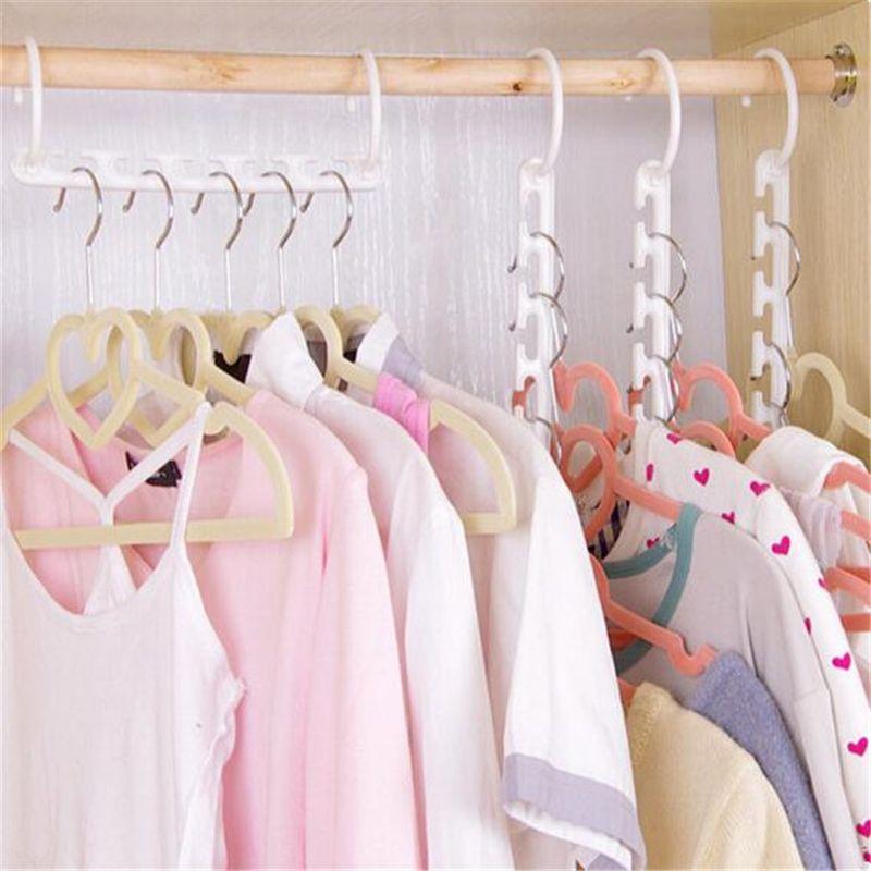 1 Pc Space Saving Hanger Plastic Cloth Hanger Hook Magic Clothes Hanger  With Hook Closet Organizer