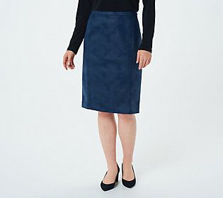 A button-up blouse and a classic pair of pumps worn with this pull-on pencil skirt makes a poised and polished workday look. From Susan Graver.