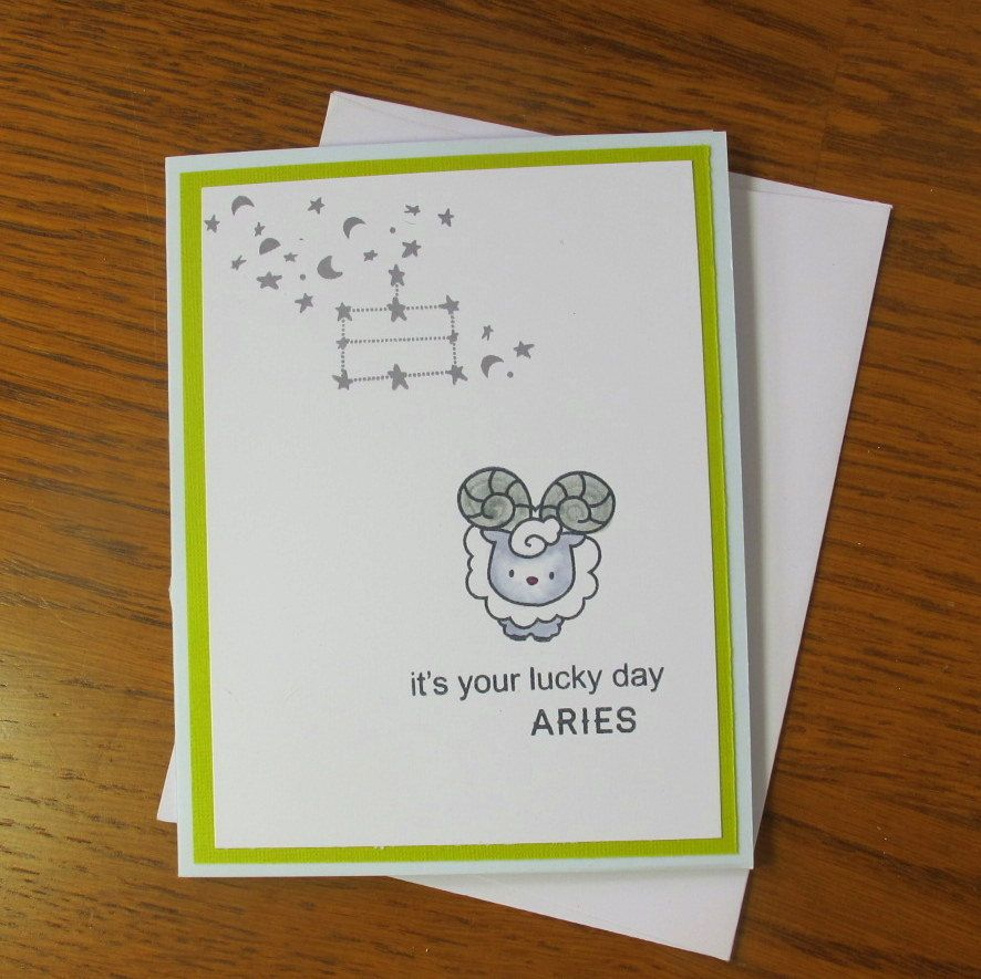 Handmade Birthday Card- Aries Birthday / March Birthday / April Birthday / Handmade Astrology Card/ Zodiac Birthday Card / Birthday Handmade