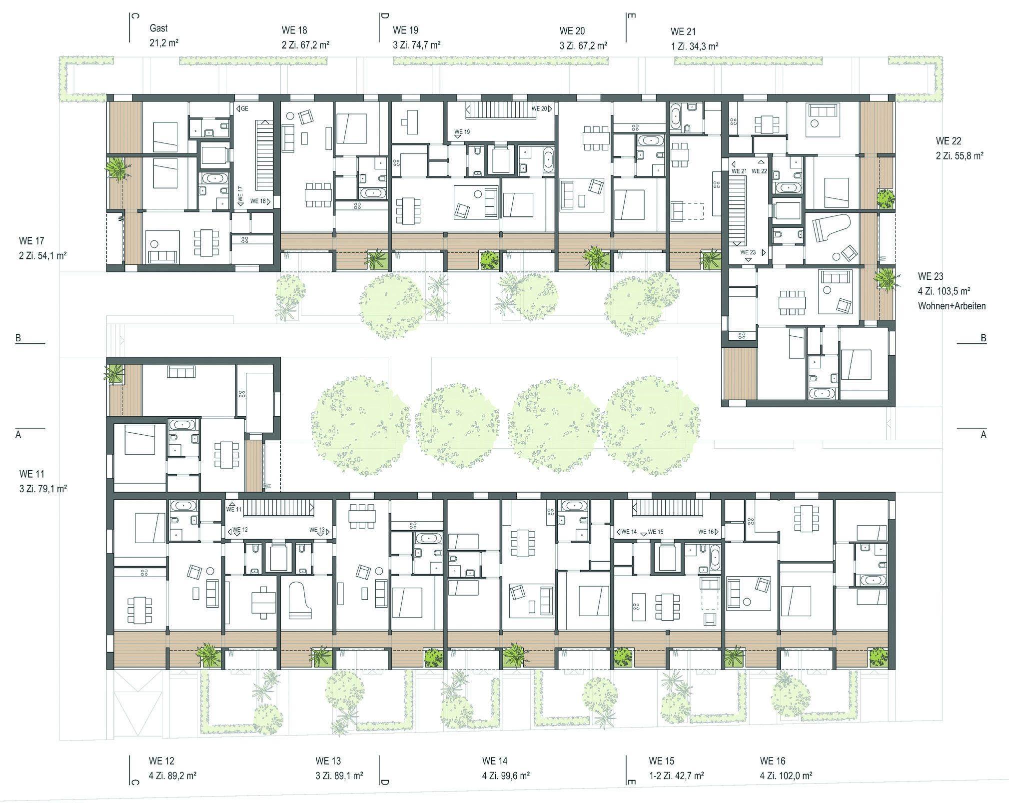 gewinner baublock b wohnhof grundriss 1 obergeschoss. Black Bedroom Furniture Sets. Home Design Ideas