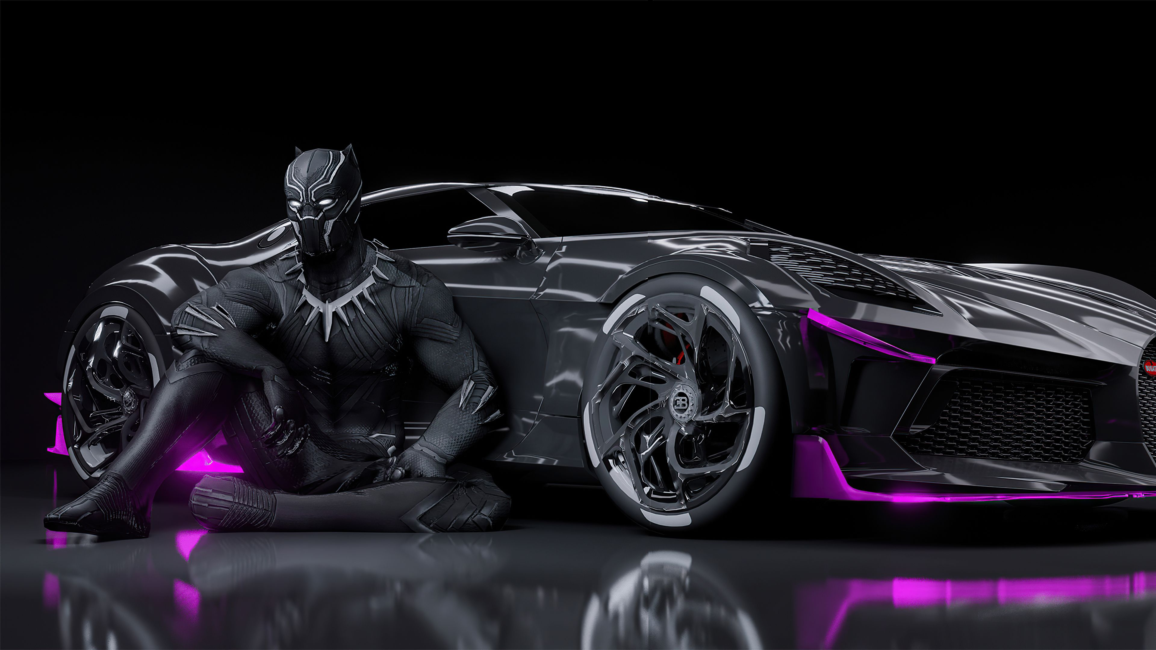 Black Panther Bugatti Chiron La Voiture Noire 4k Black Panther Bugatti Chiron La Voiture Noire 4k Wallpapers In 2021 Bugatti Chiron Gym Music Hd Widescreen Wallpapers