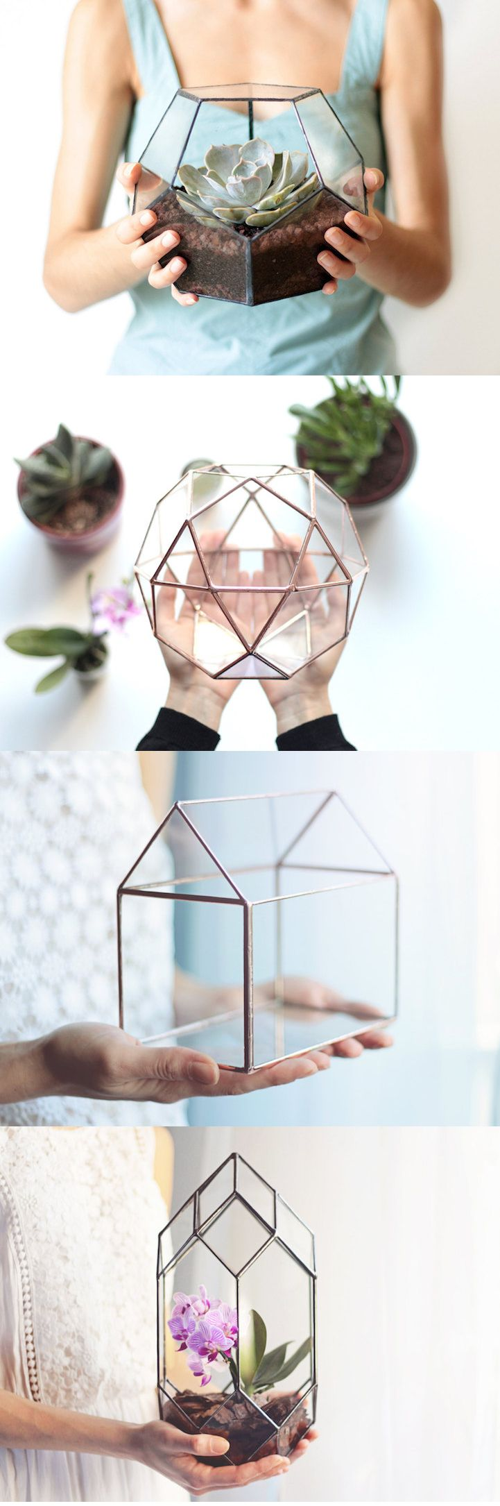 Large Geometric Glass Terrarium / Icosidodecahedron / Globe Terrarium /  Handmade Glass Planter / Stained Glass Terrarium | Glass Terrarium,  Terraria And ...
