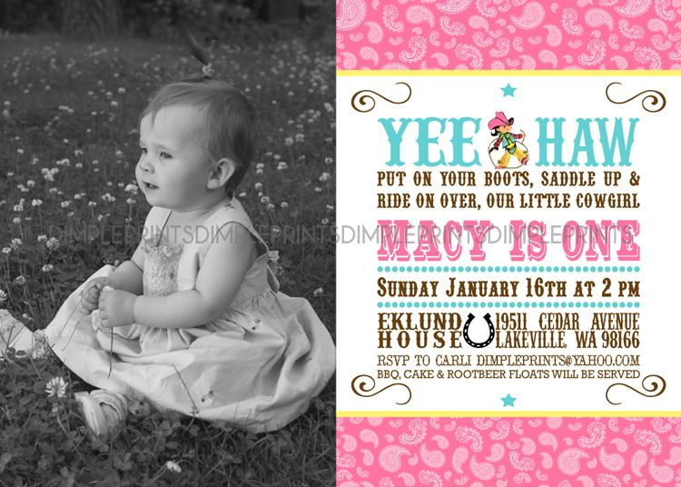 Cowgirl First Birthday Invitations Southernsoulblogcom - Digital first birthday invitation