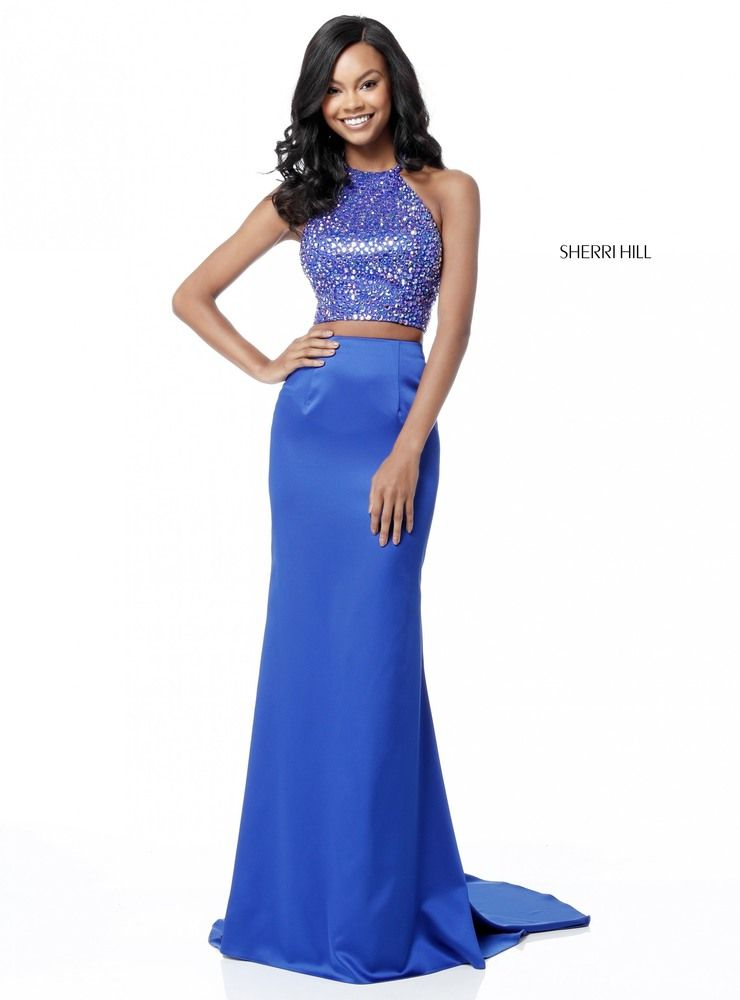Royal Fitted Two Piece Sherri Hill 51647 Beaded Halter Evening Dress