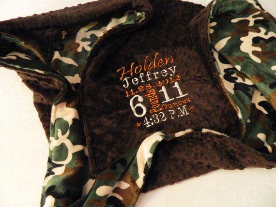 Personalized Baby Blanket Camo Minky Blanket Camo Baby Blanket Boy Green Brown Camouflage Blanket
