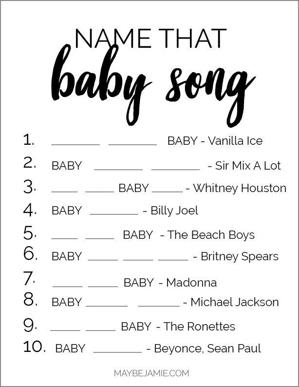 Baby Shower Games - Baby Songs