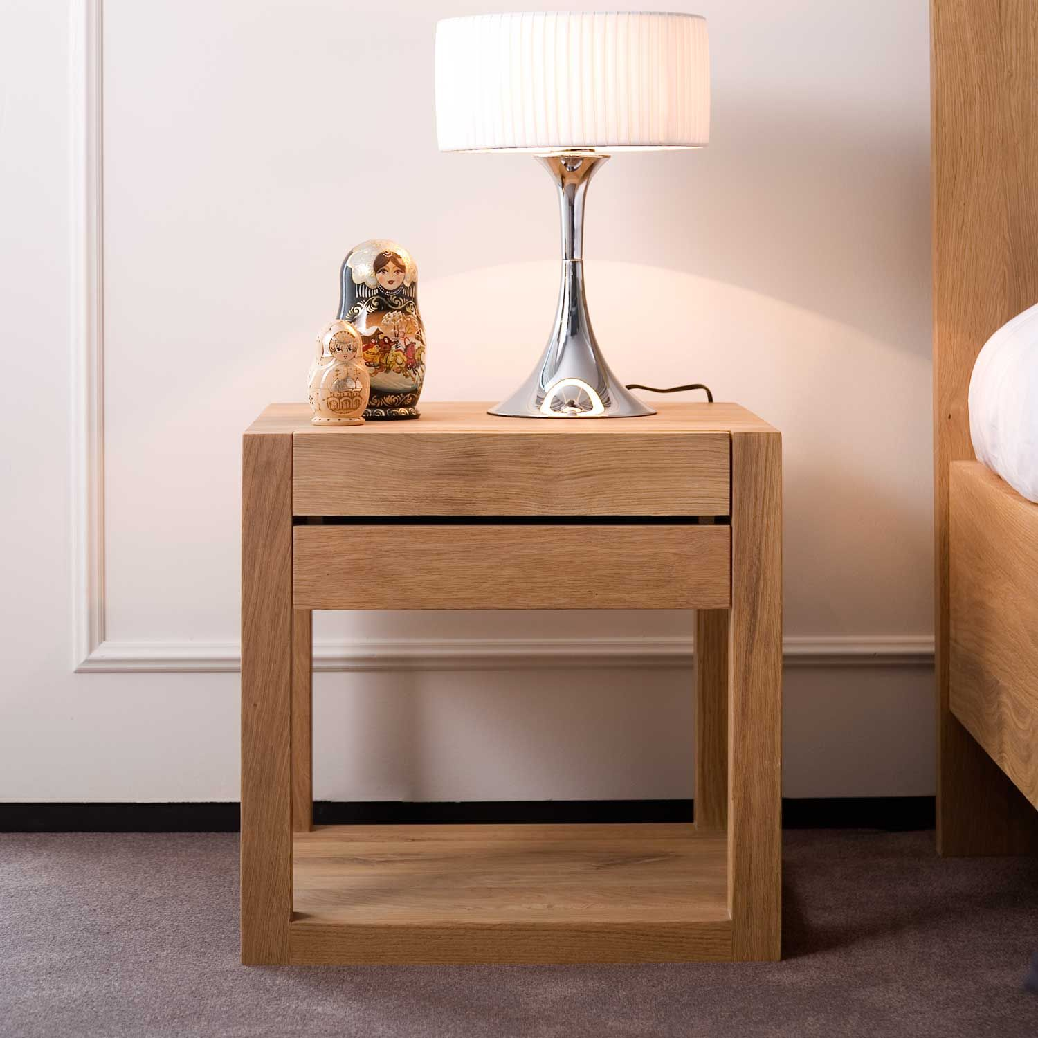 natural polished wooden bed side table with drawer and square legs placed on - Contemporary Oak Bedroom Furniture