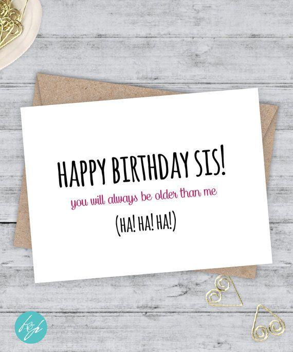Sister Birthday Card Funny Sister Birthday By
