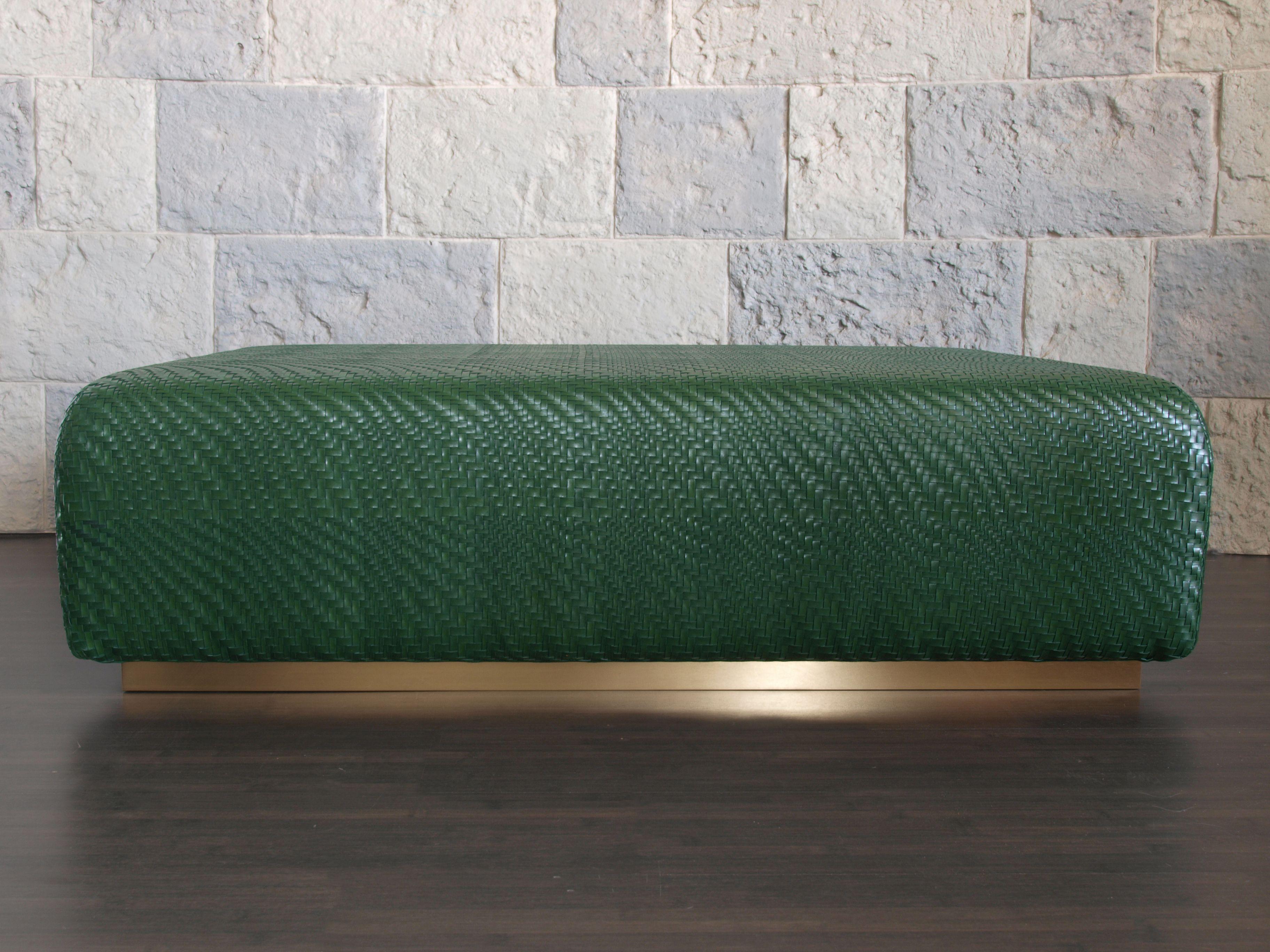 Strange Cobblestone Woven Leather Ottoman In Bottle Green Lamtechconsult Wood Chair Design Ideas Lamtechconsultcom