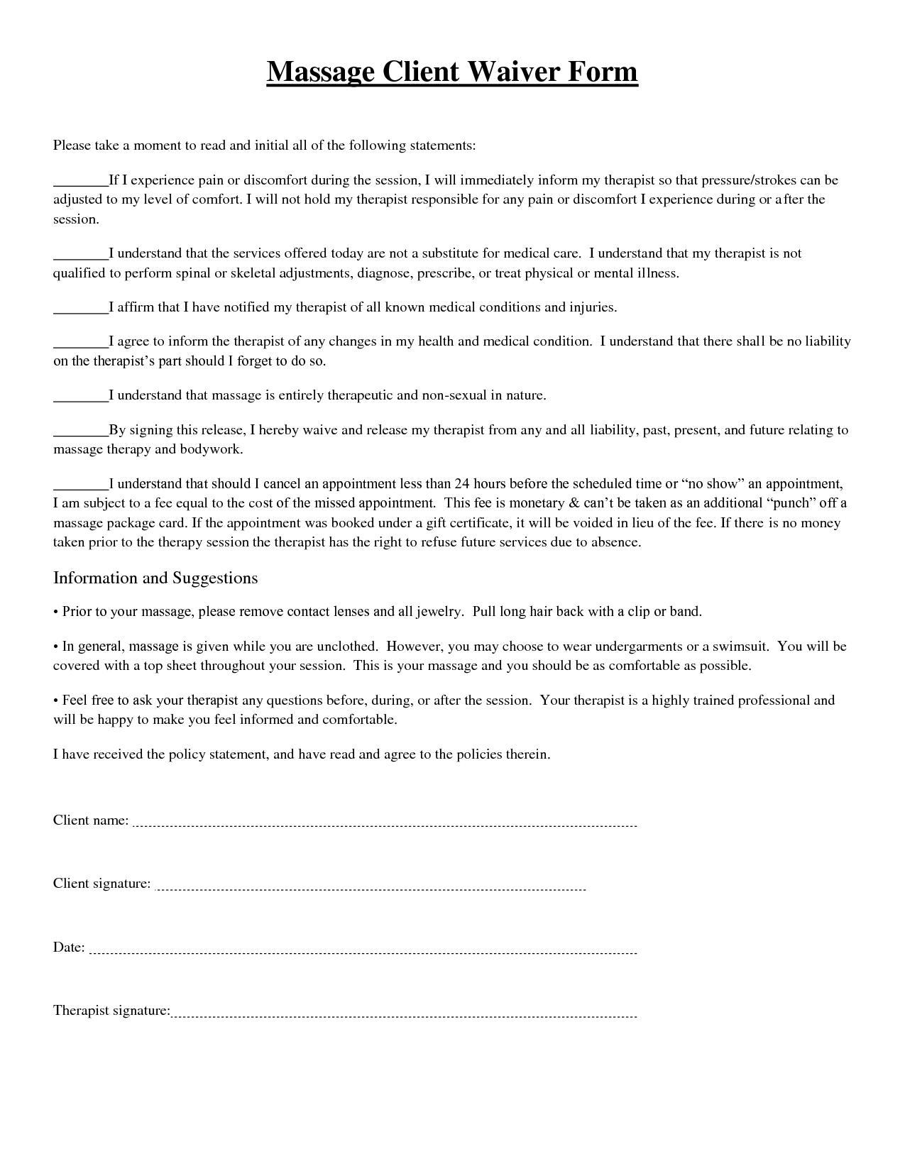 Massage Client Waiver Form Picture
