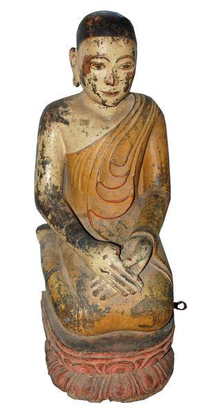 19c Burmese Kneeling Buddhist Monk