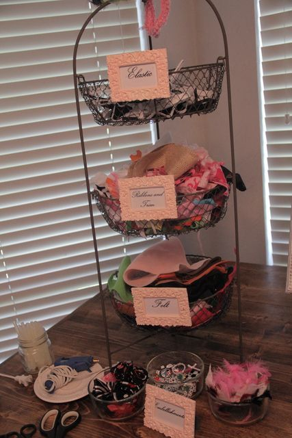 Who needs baby shower games when you can do a headband station for girl baby shower??!?! Love this idea!!