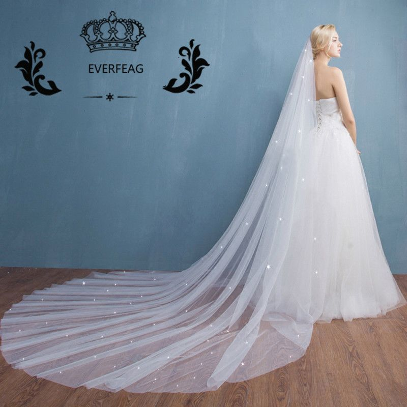 2017 New Design Elegant One Layer 3M Long Tulle Crystal White Ivory ...