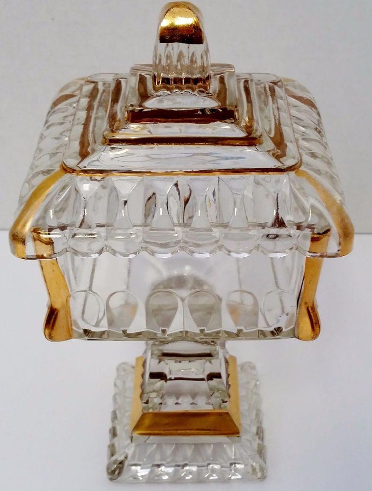 Crystal Candy Dish Vintage Glass Square Pedestal Wedding Compote Lid Gold Trim  #Jeanette