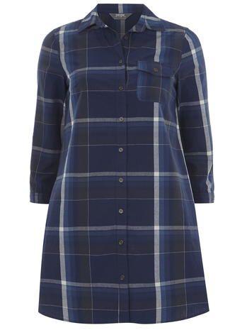 Check Denim Shirt Dress
