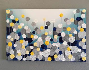 Arbre texturé jaune et gris, peinture acrylique originale sur toile, sélectionnez votre taille #graybedroomwithpopofcolor