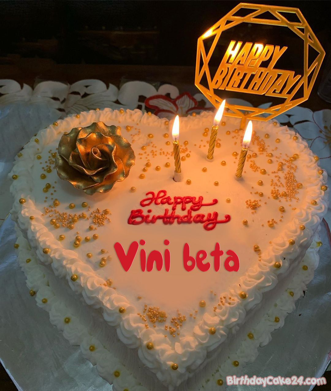 Candles Happy Birthday Cake With Name Edit in 2020 Cake