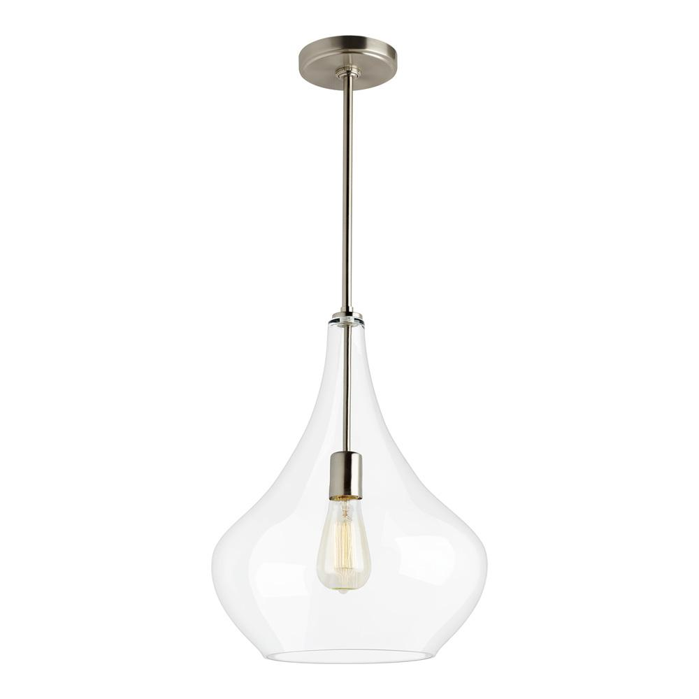 Sea Gull Lighting Mora 13 In W X 17 In H 1 Light Clear Glass Teardrop Pendant With Brushed Nickel Accents And Vintage Edison Bulb 6528201 962 The Home Depot Blown Glass Pendant