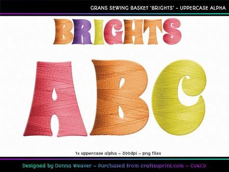 cu4cu GRANS SEWING BASKET BRIGHTS Uppercase Alpha by Donna Weaver For all of you out there who are SEW crazy about thread (like me!) - introducing GRANS SEWING BASKET - BRIGHTS digital aphabet!  Each letter has beautiful thread detail, in 6 bright colours. This is a unique alpha, perfect for many different themes and crafty uses!  Click my name to see more of my products, including corresponding alphas that match this one. Thanks for looking :)