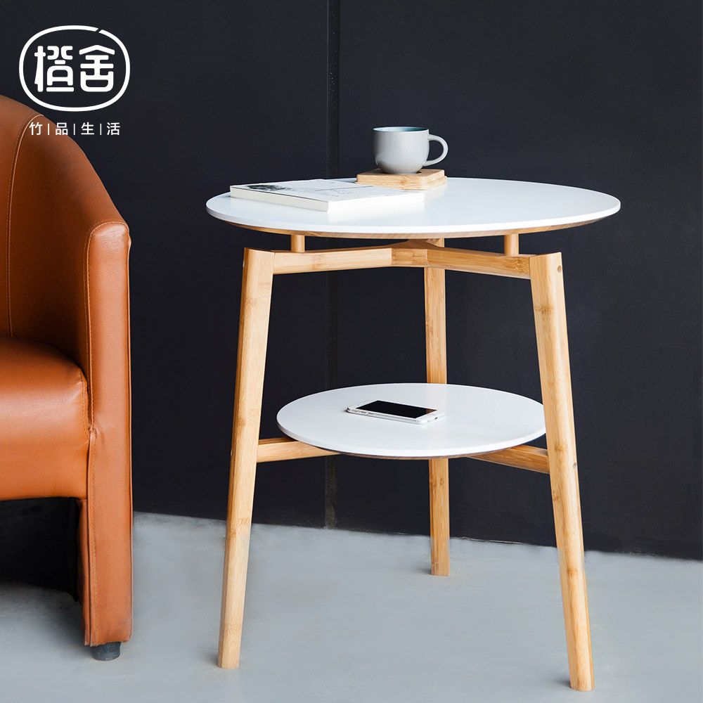 ZENu0027S BAMBOO Round Tea Table Double Layer Coffee Table Wooden Bamboo Table  Flower Stool Living Room