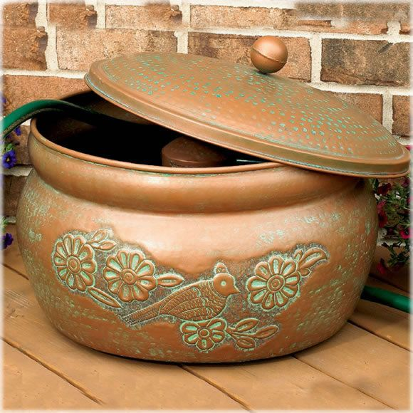 CobraCo Bird Motif Copper Finish Hose Holder With Lid HHEBR The CobraCo  Embossed Bird Hose Holder And Lid Holds A Garden Hose Up To 150 Feet In  Length.