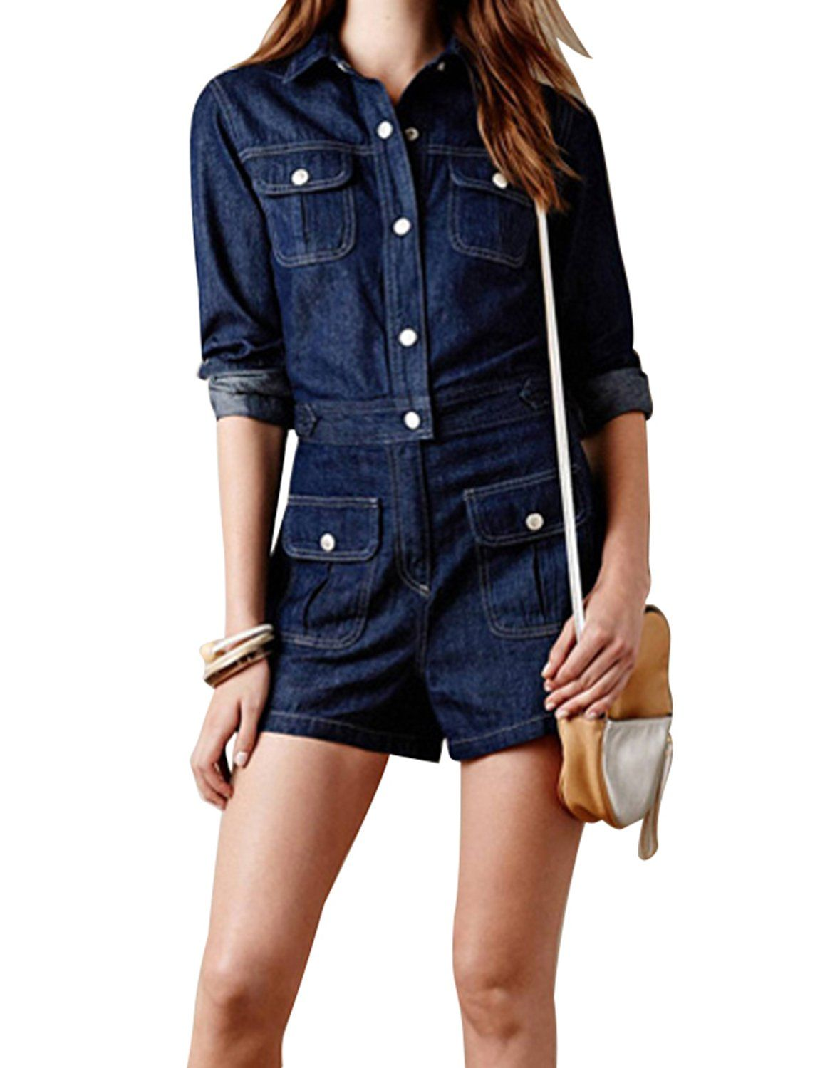b86f7f5d7ae haoduoyi Women Long Sleeve Denim Jeans Jumpsuit Bodysuit Romper Playsuit M      Read more at the image link.(It is Amazon affiliate link)   JumpsuitsForWomen