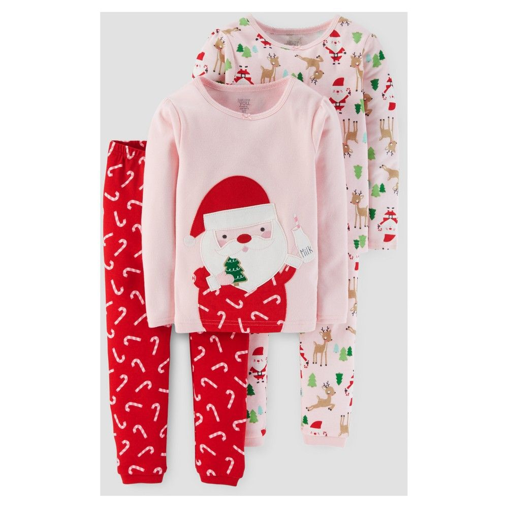 69c982387ae9 Toddler Girls  4pc Long Sleeve Santa Pajama Set - Just One You Made ...