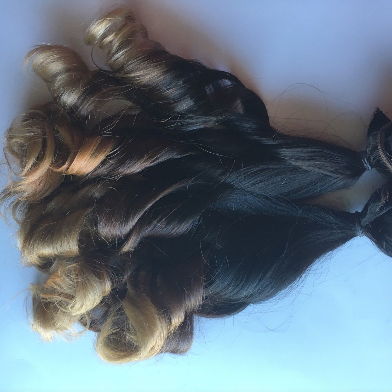 20 Inch Ombre Dark Brown Black Brown Auburn Blonde Clip Fade Clip In