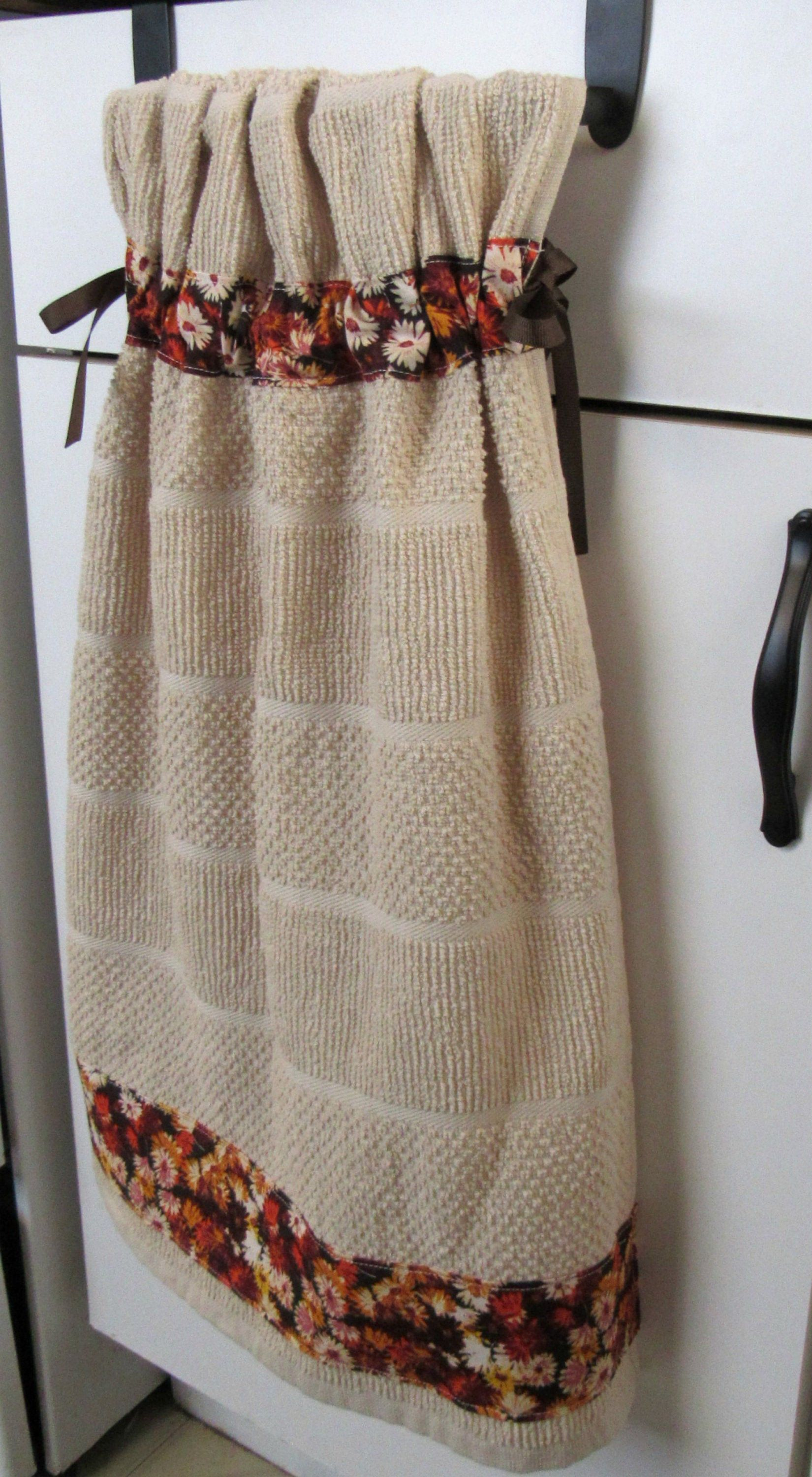 Tie Top Towels Cream Cotton Kitchen Towel Accented With Fall Mini