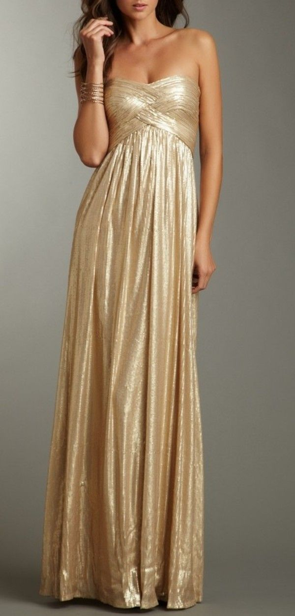 Ladies\' Luxury holiday metallic gold strapless bodycon bandage ...