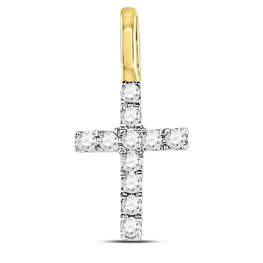 10kt White Gold Womens Round Diamond Cross Faith Pendant 1//10 Cttw