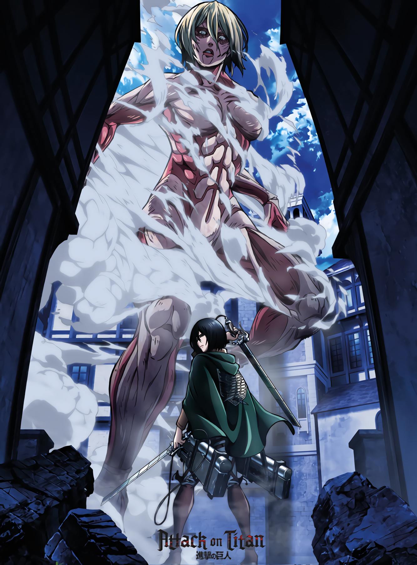 Mikasa And Female Titan Attack On Titan Aot Snk Animegirl Anime Manga Plusultra Hunter X Hunter Cara Menggambar Seni Anime