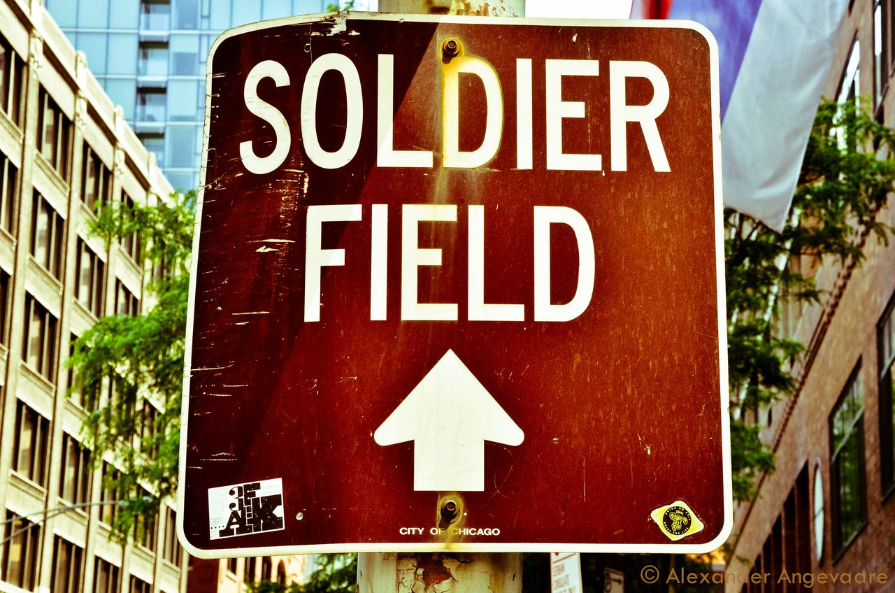 Home of Da Bears - Soldier Field Sign. If ya didn't know, it's this way.  ~ Chicago, Illinois