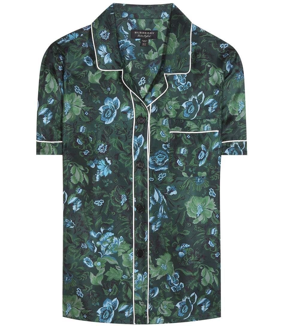 BURBERRY Bedrucktes Pyjamahemd Aus Seiden-Twill. #burberry #cloth #tops