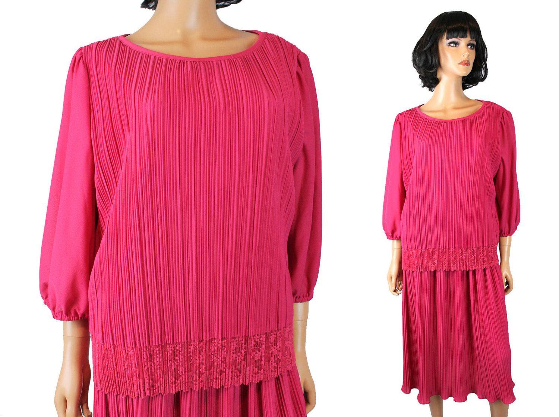 S secretary dress xxl x x vintage hot pink pleated crepe lace