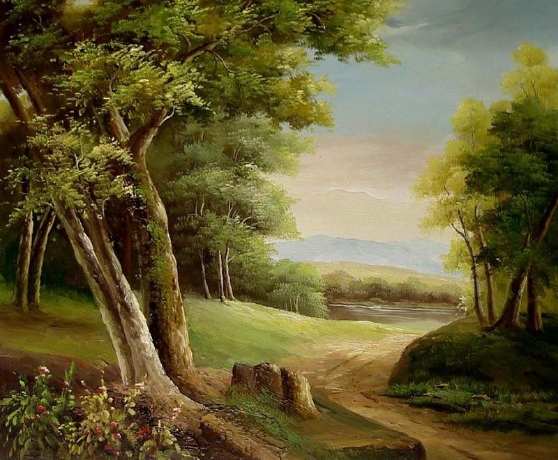 Landscapepaintings Classical Landscape Oil Painting 100 Hand Painted On Canvas By Pintura Em Tela Pintura Em Telas Paisagem Paisagem Rural